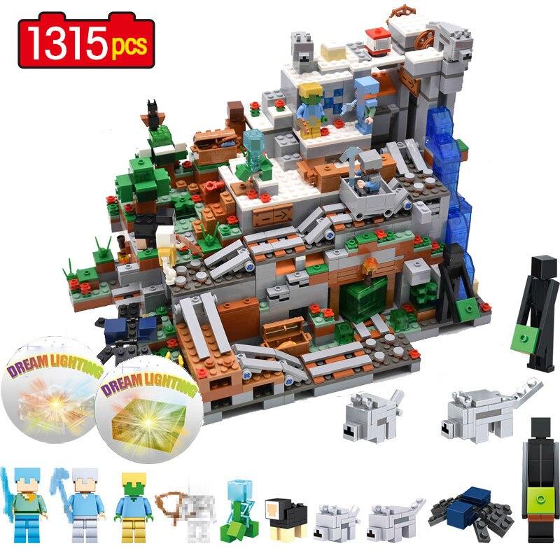 1315 pièces mon monde mécanisme grotte blocs de construction Compatible LegoING Minecrafted Aminal Alex Mini figurine Action brique jouets pour enfant