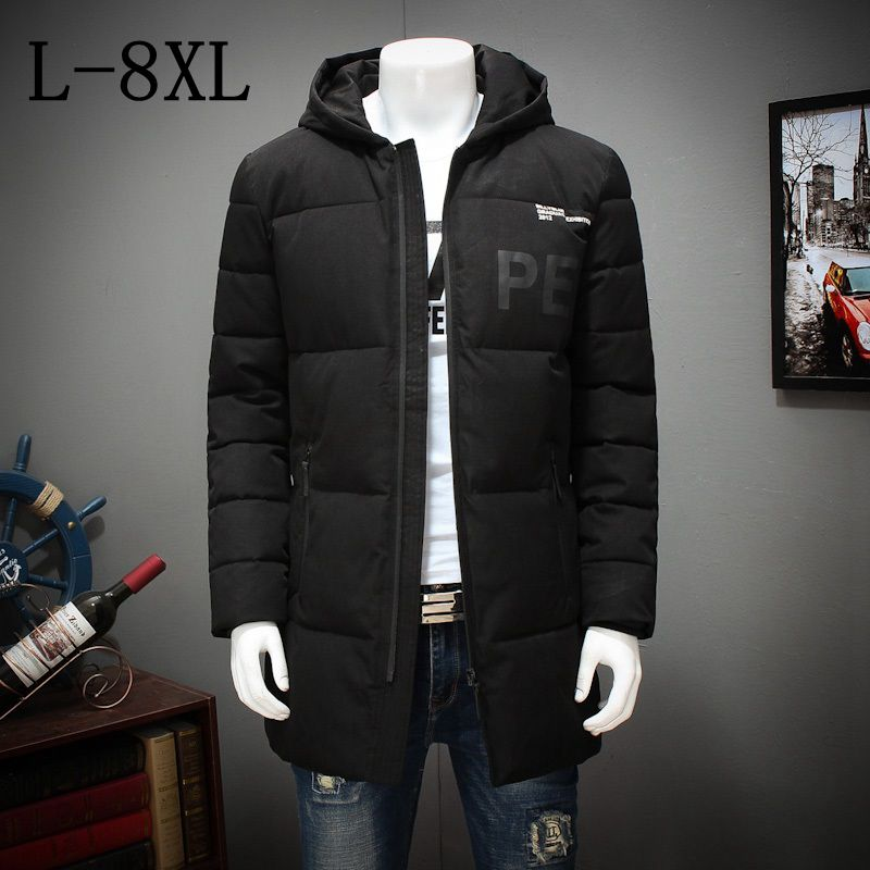 где купить 2017 New Fashion Winter Jacket Men Hooded Warm Coats Parkas Men Thick Long Solid Zipper Men's Winter Jackets Plus Size 7XL 8XL по лучшей цене