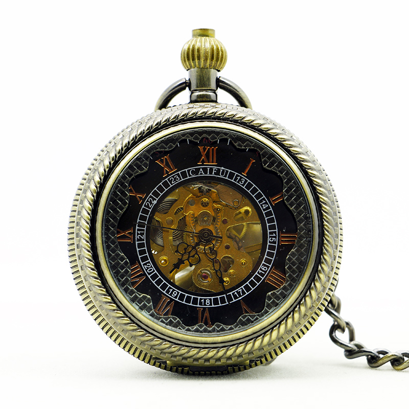 Retro Archaize Bronze Roman Numberals Pendant Mechanical Pocket Watch Men Women Black Dial Steampunk Pocket Watch Gift PJX1123