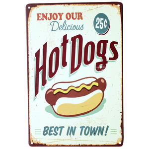 Enjoy our delicious hot dogs best in town wall decalsmetal tin signs plate painting Home decoration wall decor Wall stickers