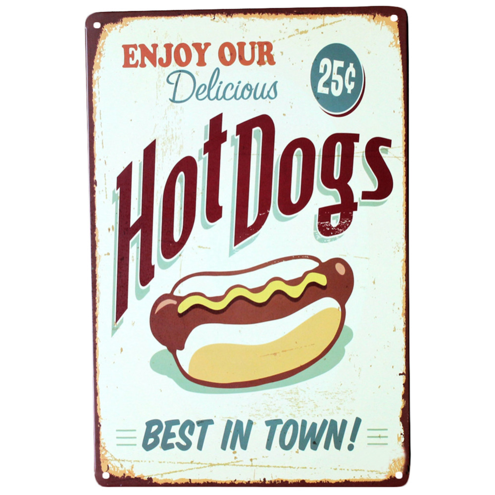 Buy enjoy our delicious hot dogs best in for Plaque metal deco pour mur