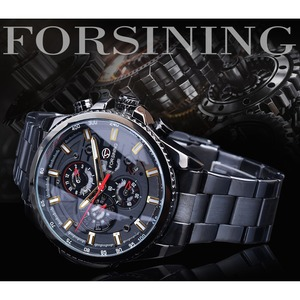 Image 2 - Forsining 2019 Classic Black Clock Steampunk Series Complete Calendar Mens Sport Mechanical Automatic Watches Top Brand Luxury