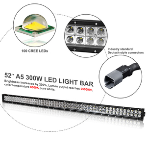 Image 2 - 18w 300w 4 52 52 faróis da polegada 4x4 conduziram luzes offroad barra de luz de trabalho do feixe de combinação suportes 12v 24v para o carro jeep wrangler jk 07 15