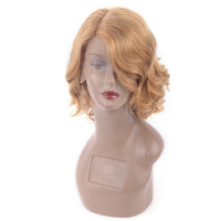 LADYSTAR Remy Human Hair Wavy Lace Front 13x2 + 4inch Right Part Short Bob Hair Wigs 150% Density Blonde Color For Women