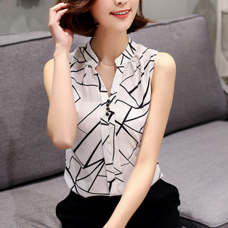 ccbed05cb349 New 2018 Summer Chiffon Blouse shirt Women Printed Sleeveless White top Blouses  Shirts Female Office tops-in Blouses & Shirts from Women's Clothing on ...