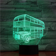 London Double Decker Vehicle 3d Hologram Lamp Illusion Nightlight for Kids Child Bedroom Decor Night Light Led Lighting Bulb moyou london illusion 07