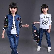 Модельер детской одежды девочек-подростков одежда устанавливает модули горячие 2016 детей две шт девушки осень одежда набор