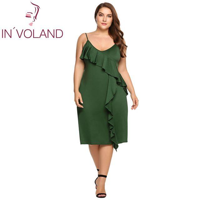 Online Shop IN\'VOLAND Women A-line Dress Plus Size Spaghetti Strap ...