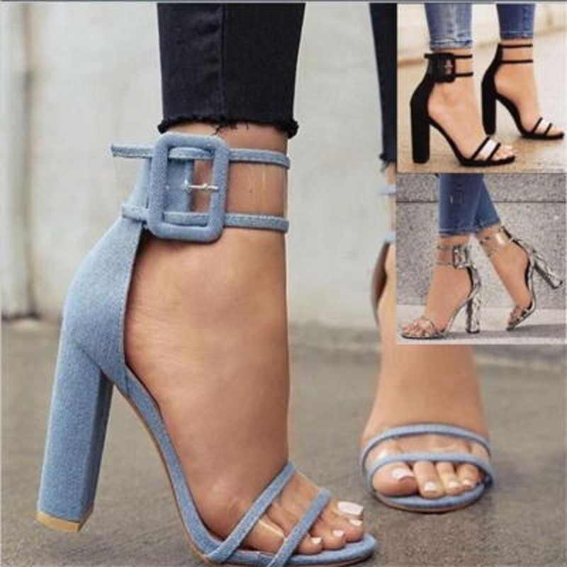 Новинка 2019 года; обувь на толстом высоком каблуке с пряжкой в европейском и американском стиле; большие размеры
