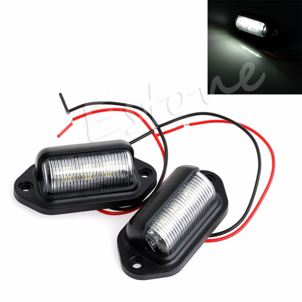 2x 12V 6 LED Number License Plate Tag Interior Step Light RV Boat Trailer Truck Auto Interior LED 2x 12v bright 3leds license plate light lamp bulbs number plate light for motorcycle boats aircraft automotive trailer rv truck