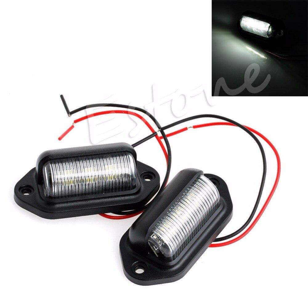 Φ_Φ2x12 V 6 LED Marcos de matrícula Etiqueta interior paso luz RV ...