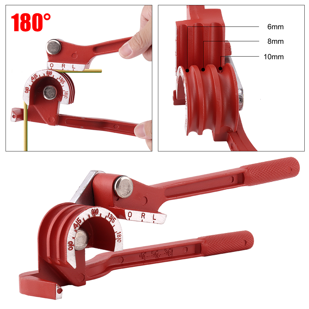 3 IN 1 180 Degree Pipe Bender 6mm 8mm 10mm Manual Tube Bending Tool Hand Pipe Tube Bender Machine for Iron Steel Aluminum(China)