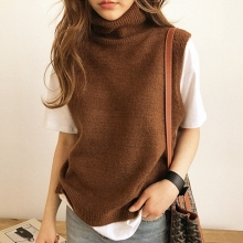 FRSEUCAG,, женский вязаный жилет с высоким воротом, свободный удобный кашемировый свитер, свитер без рукавов, Женский пуловер