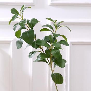 3D Impressão real toque ramos de árvore Ficus artificial folhas folhagem decoração do falso falso flor plantas artificiais folha verde