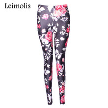 Tenths adventure time punk rock Harajuku black milk push up fitness sexy 3d print pink vintage flower rose women leggings sports