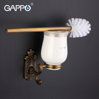 GAPPO 1 Set Wall Mount Toilet Zinc Alloy Brush Holder Mounting Seat Holder Cetamic Cups Bathroom