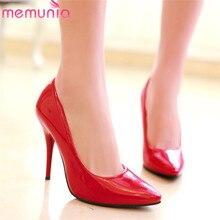Memunia 2020 大サイズ 48 女性パンプスpuポインテッドトゥ春夏シングルの靴セクシーな結婚式靴女性