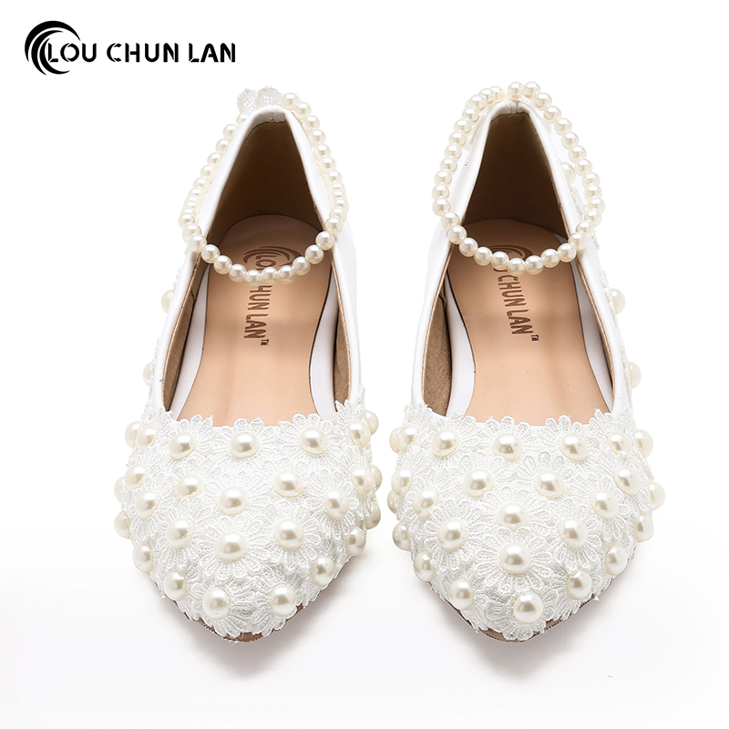 Women Shoes Adult Flats Wedding Shoes White Bridesmaid Shoes Pearl ...