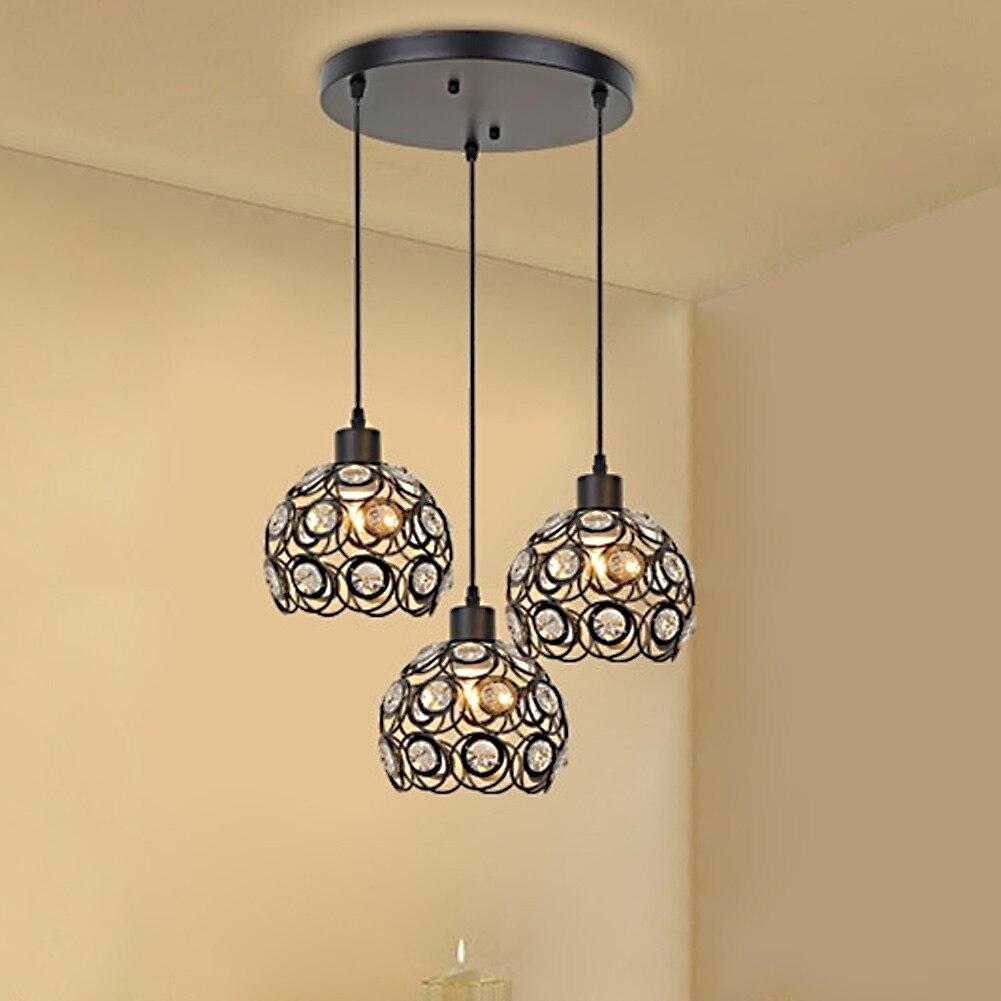 Creative Design Modern Glass Crystal Pendant Lights 3 Heads Hanging Lamps For Dining Room Living Bar Dia 20cm