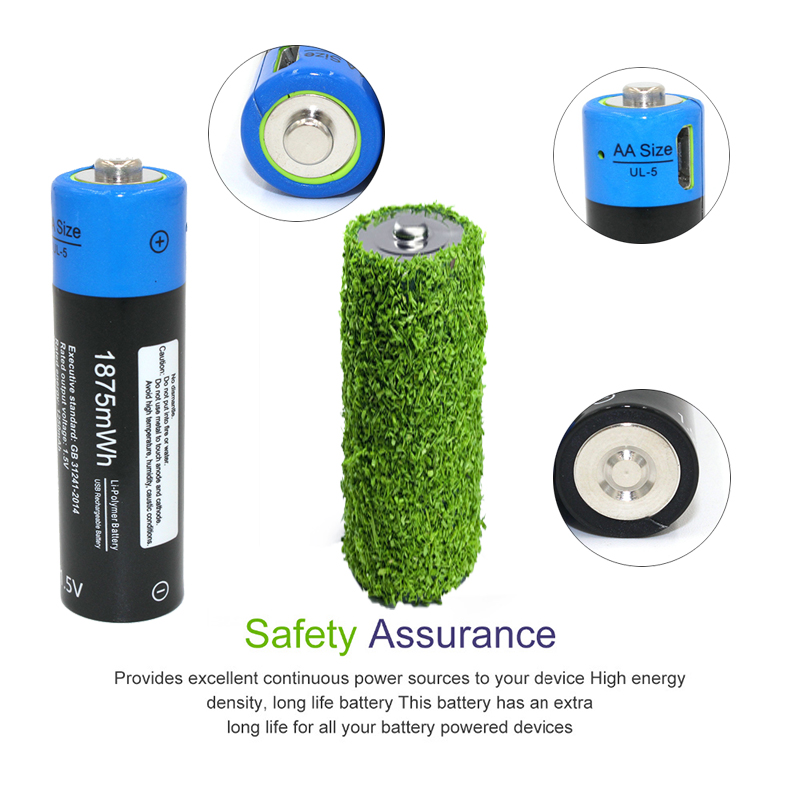 NEW battery ! 2pcs Etinesan 1.5V AA 1875MWH li-polymer lithium li-ion rechargeable battery, micro usb for charging, cool !