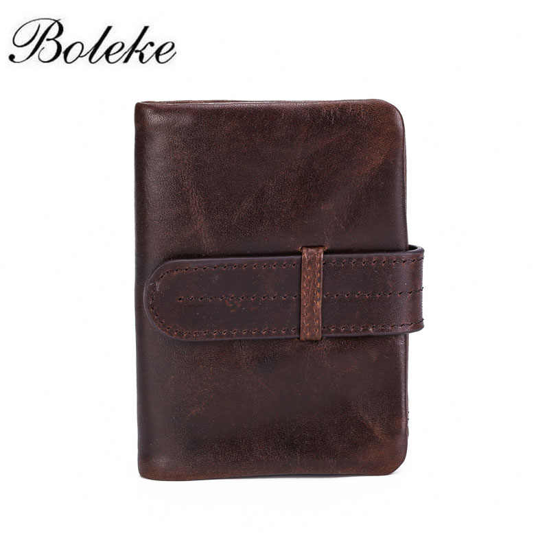 Men Full Grain Oil Waxing Leather Wallet for Man Short Bifold Coffee Small Coin Purse Drawstring Handmade Wallet Purse for Men
