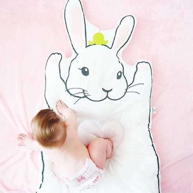 INS Белый Кролик енот игровой коврик детское одеяло утолщенный ползающий коврик игровой коврик - Цвет: Bunny