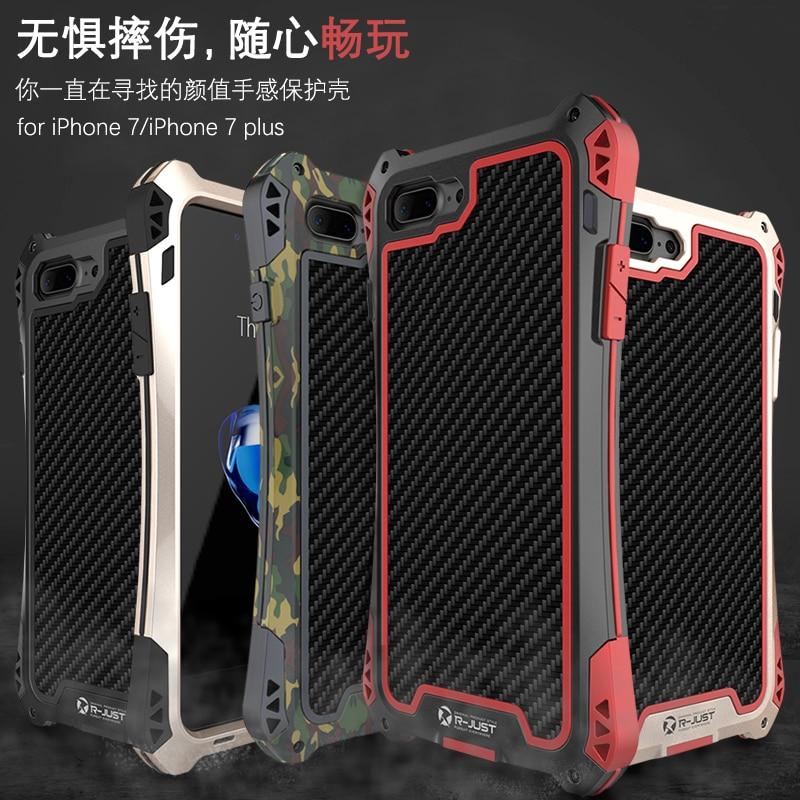 imágenes para I7 más armor Dirt Choque A Prueba de agua de Metal De Aluminio de Lujo caja del teléfono Para el iphone 7 4.7 Más 5.5 De Fibra De Carbono + Metal + Gorilla R-sólo