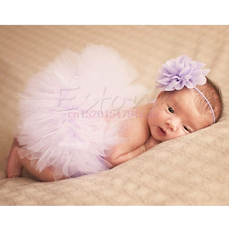 Baby Tutu Clothes Skirt Newborn Headdress Flower Girls Photo Prop Outfits #h055#