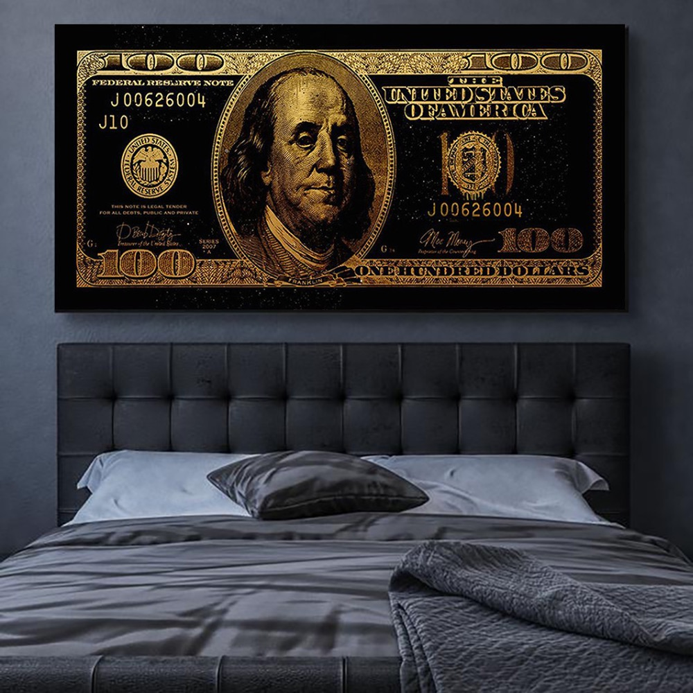 Модульные Hd-принты, абстрактные картины, украшение для дома, 1 шт., доллар, Золотая живопись, холст, современный плакат, настенное искусство д...