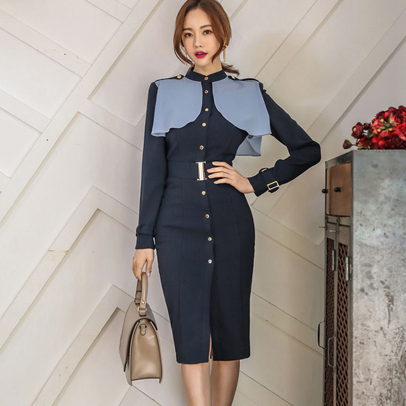 Stand Collar Single Breasted Patchwork Ruffles High Waist Dress Office Lady Women Hip Package Knee length
