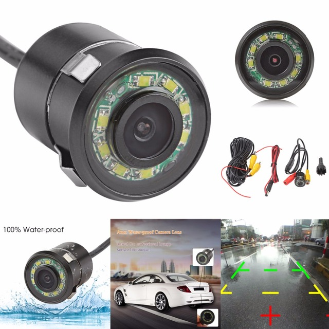 Waterproof Universal 18.5mm HD Wired Car Rear View Parking Camera 170 Degree Wide Angle 6m Video Cable
