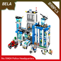 Bela 10424 890pcs City Series Police Headquarters Model Building Blocks Bricks Toys For Children Birthday Gifts Compatible 60047