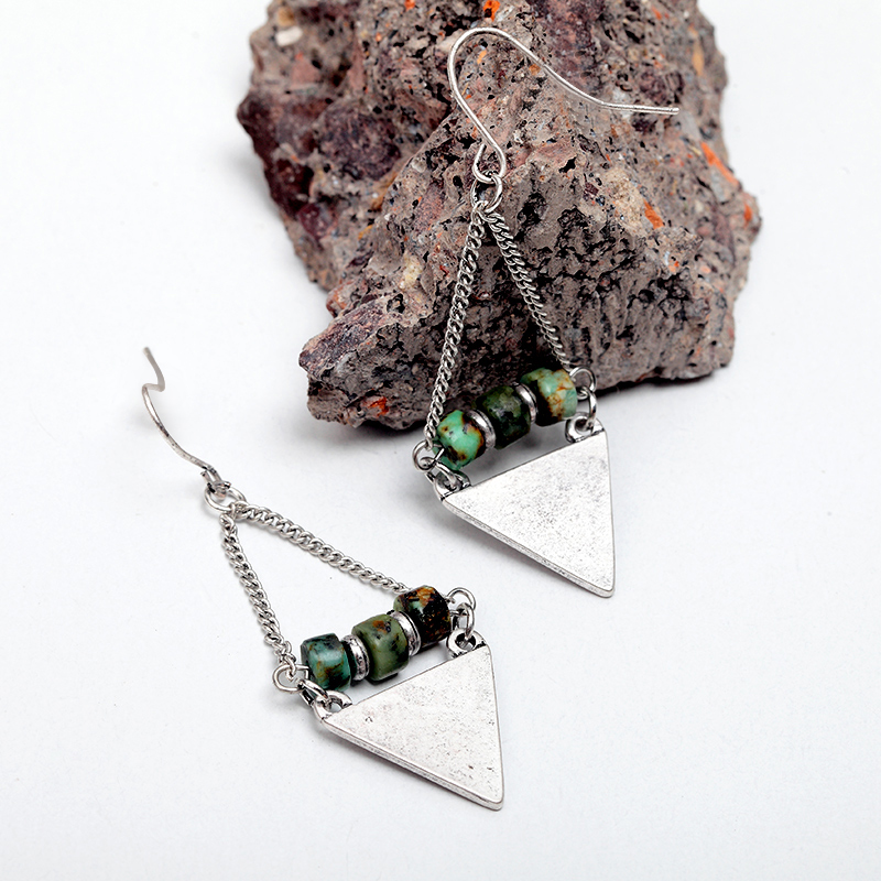 Women Vintage Zinc Alloy Triangle Dangle Earrings Antique Gold Silver Natural Stone Beads Drop Earrings Jewelry 4