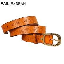 RAINIE SEAN Leather Embossed Belts Women Pin Buckle Belt Flower Butterfly Yellow Brown Designer Ladies Genuine Cow Leather Belt цена