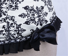 Steampunk corset bustier / black and white floral