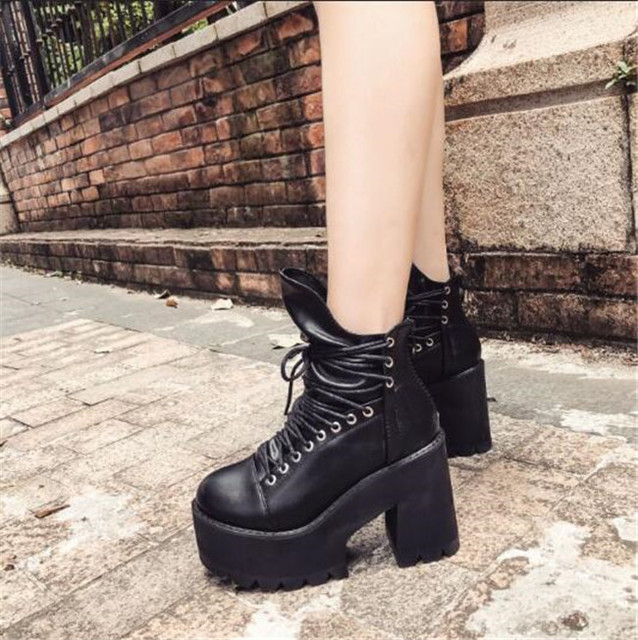 c94c9e059f8e7 PXELENA Hot Rome Vintage Punk Rock Gothic Creepers Ankle Boots Women Lace Up  Thick Platform Chunky Block High Heels Martin Boots