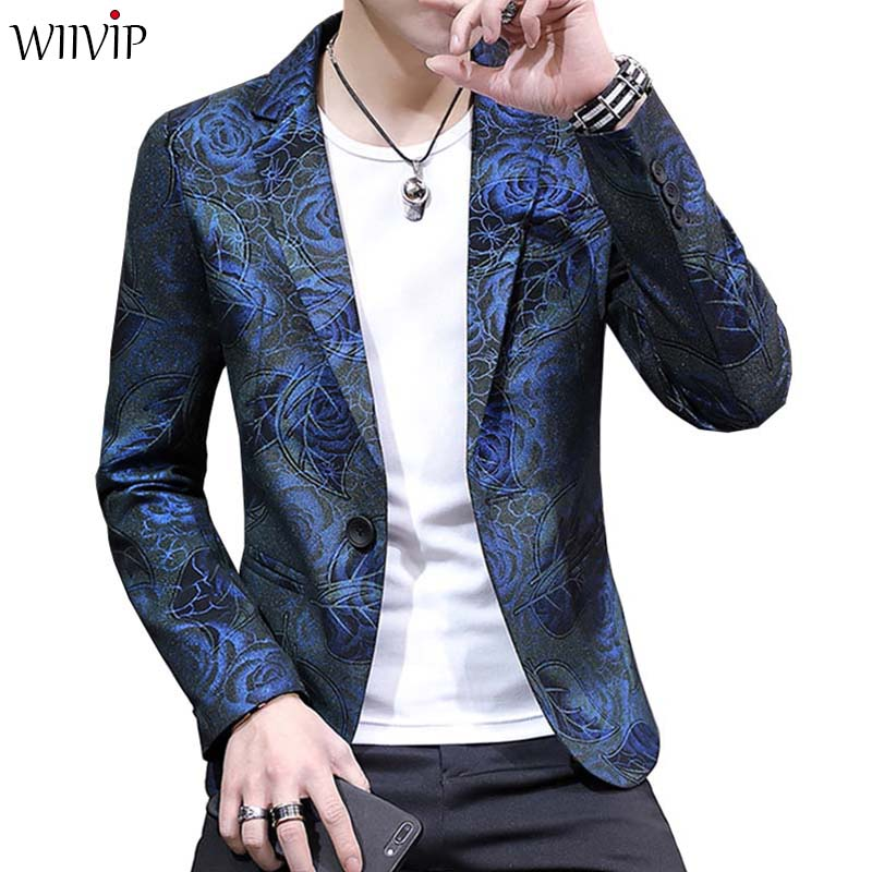 New Man Fashion Print Floral Slim Blazer Coat Casual Spring Autumn Winter Notched Collar Full Sleeve Handsome Party Blazer 1264