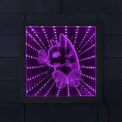 Kot z motyl LED RGB nieskończoność lustro rama nieskończoną przestrzeń grafiki kot kochanka prezent kot portret wizję tunelu lampki lustrzane|Wewnętrzne kinkiety LED|   -