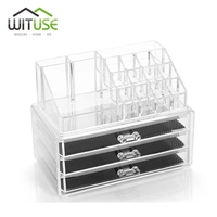 WITUSE Excellent Cosmetic Organizer 3 Drawers Acrylic Desk Organizer Acrylic Makeup Organizer Storage Box Rangement Maquillage