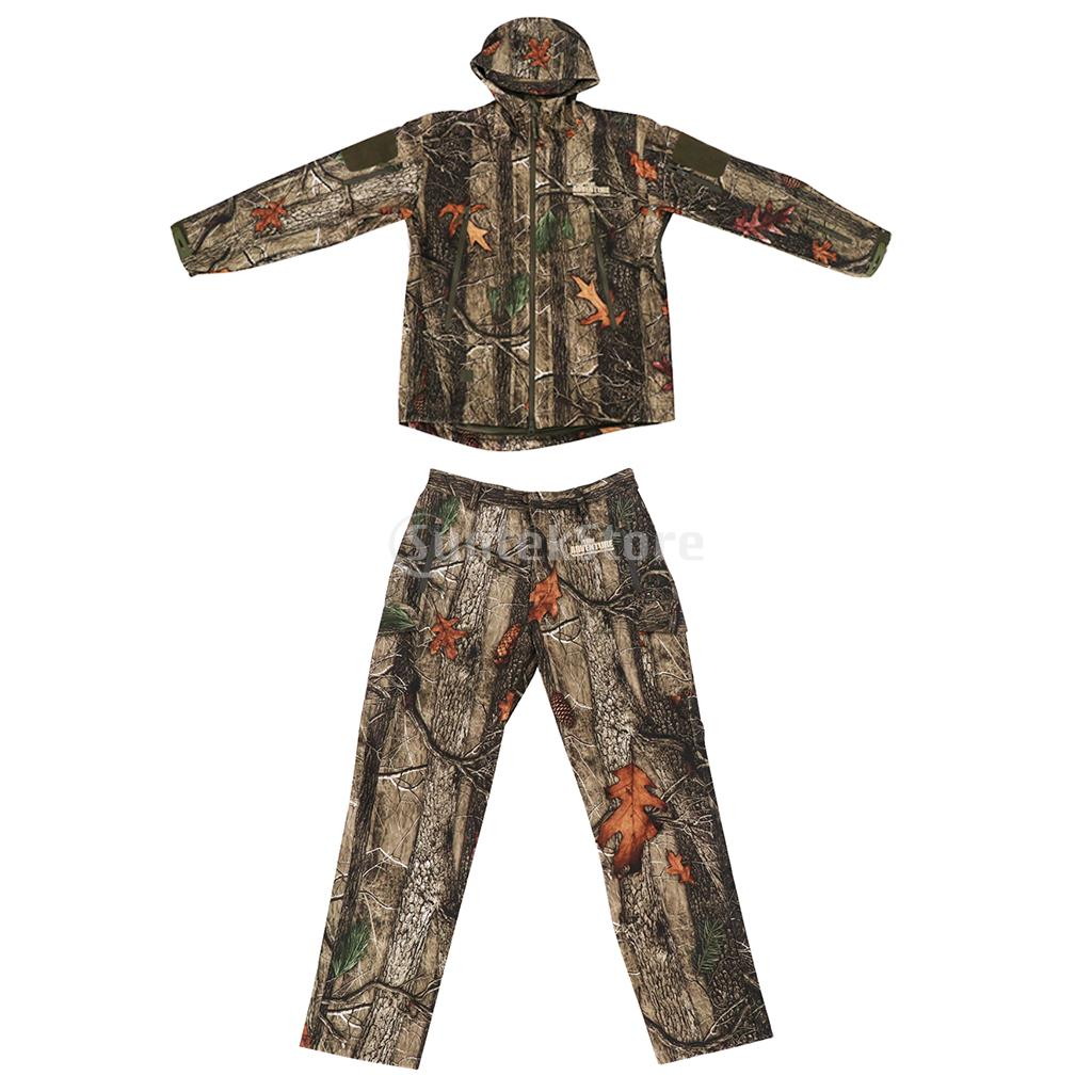 Men Women Unisex Warm Breathable Camo Outdoor Hunting Jacket Outwear Pants Hoodie Trousers Set M-XXL цены онлайн