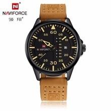 NAVIFORCE mens watches top brand luxury leather strap men sports watch fashion casual analog Army quartz-watch relogio masculino