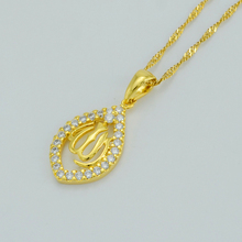 Anniyo Cubic Zirconia Allah Necklaces for Women Islam Muslim Products Jewelry Arab CZ Pendant for Middle Eastern #001419