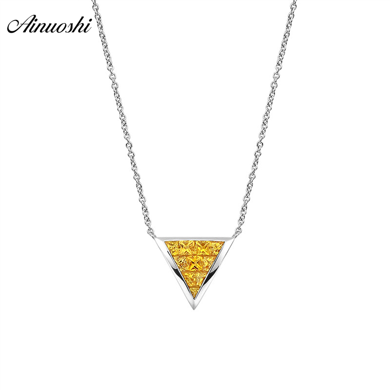 AINUOSHI Genuine Gemstone 18K Yellow Sapphire Necklace  10mm Triangle Shaped Pendant  Exquisite Pendant Necklaces Link ChainAINUOSHI Genuine Gemstone 18K Yellow Sapphire Necklace  10mm Triangle Shaped Pendant  Exquisite Pendant Necklaces Link Chain