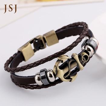 [JSJ] bracelet Men Jewelry Cow Leather anchor multi-layered Bracelets & Bangles Metal Bracelet  Wax Cord Bracelets Men Pulseira Браслет