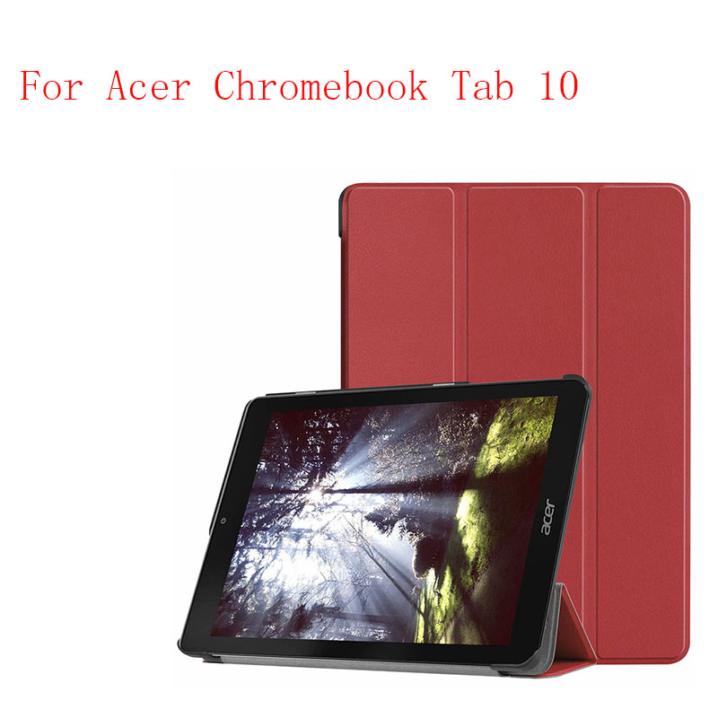 Leather Case Cover stand smart folio magnet case for Acer Chromebook Tab 10 tablet case cover
