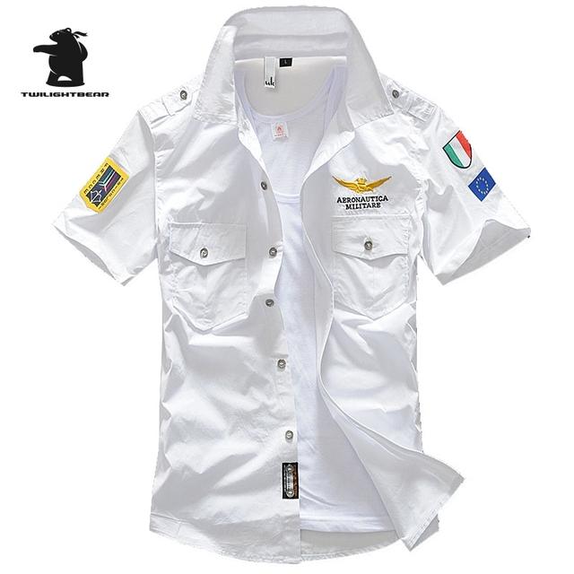 Nuevos hombres de Manga Corta Camiseta de Verano Moda de Algodón de Alta Calidad Bordado Air Force One Hombres Camisa Casual C33B12002 MA1