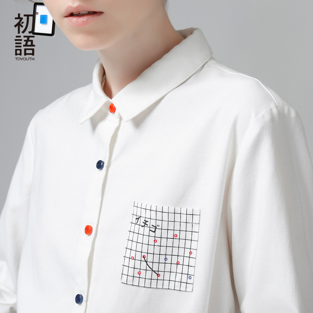 Toyouth Blouses 2017 Spring New Women Tartan Plaid Pocket Turn Down Collar Skinny Casual Ladies White Blouses Shirts