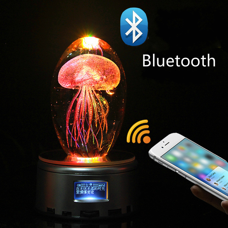 Creative Bluetooth <font><b>Jellyfish</b></font> Music box crystal Valentine Day gift birthday gift to girl wife romantic gift image