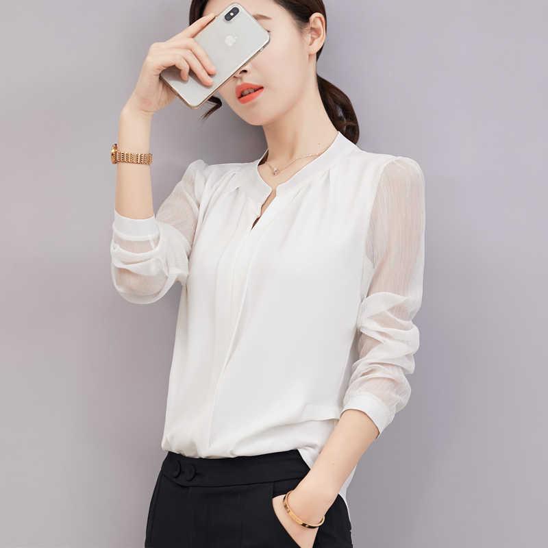 2018 夏プラスサイズブラウス事務スリム V ネックシフォンシャツ女性長袖白シャツカジュアル底トップス s-3XL
