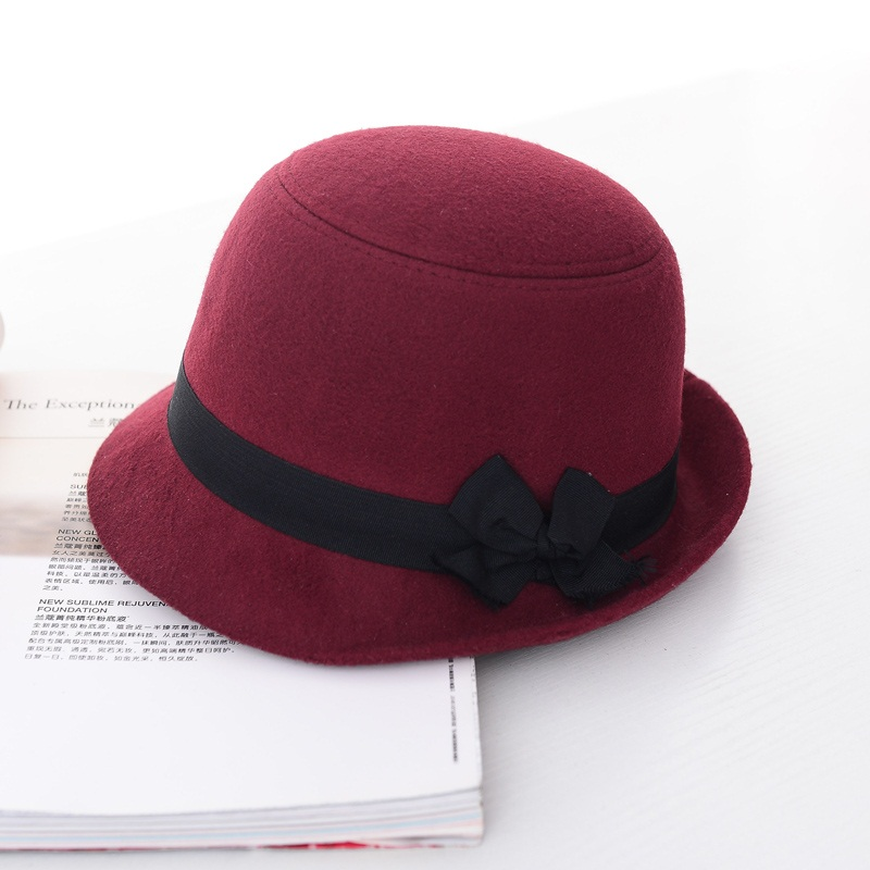 cd32f0fb4d999 Wuaumx Brands Autumn Winter Fedora Hats For Female Ladies Felt Top Hat For  Girls Trilby Homburg